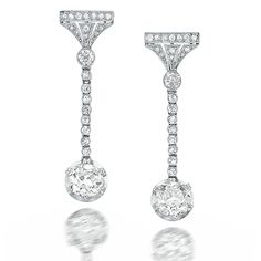Art Deco Platinum and Diamond Earrings