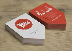 Fun die-cut business cards for Pub. Pop Grub - Business Card Design Inspiration | Card Nerd #businesscarddesign #businesscardinspiration #fundesign #orange #graphicdesign #bestgraphicdesign