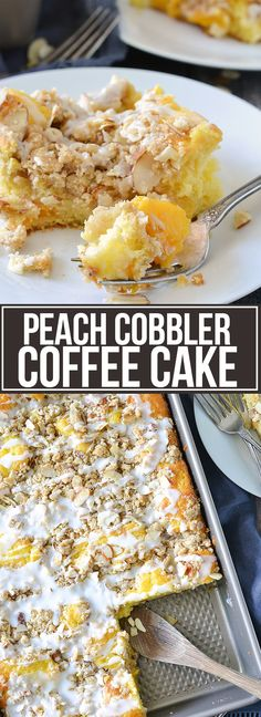 Peach Cobbler Coffee Cake - Mother Thyme - - A super easy recipe for moist and delicious Peach Cobbler Coffee Cake that you can whip up anytime of year! Gluten Free Peach Cobbler, Peach Cobbler Cake, Peach Cake, Peach Coffee Cakes, Peach Pound Cakes, Brunch Recipes, Dessert Recipes, Peach Recipes Breakfast, Dessert Bars