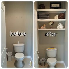 DIY water closet / bathroom floating shelves and decorations