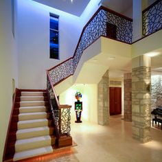 Stair Railing Design, Pictures, Remodel, Decor and Ideas - page 7 Staircase Railing Design, Modern Staircase, Contemporary Stairs, Spiral Staircase, Foyer Design, House Design, Staircase Pictures, Painted Stairs, Wood Stairs