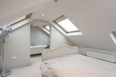 loft conversions The bedroom opens out on an en-suite. I can imagine my upstairs looking just like this with the bedroom opening onto the dressing area/wardrobe/loo. Dormer Bedroom, Attic Master Bedroom, Attic Bedroom Designs, Attic Bedrooms, Bedroom Loft, Loft Conversion Plans, Loft Conversion Bedroom, Loft Conversions, Loft Conversion With Bathroom