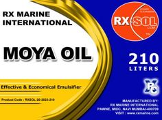 Moya Oil 210 ltr RXSOL MOYA OIL is effective and  economical emulsifier. Safe to use on most metal surfaces, painted and coated surfaces and also used as a multipurpose degreaser in extremely hard cleaning conditions. Click Link :::: http://dubichem.com/moya-oil-multi-purpose-degreaser