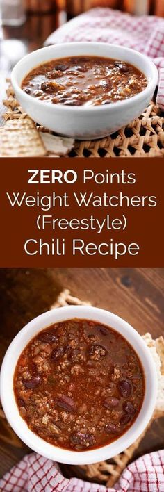 This healthy three bean and ground lean meat Weight Watchers chili recipe is ZERO points on the Freestyle program! It's filling, delicious, and EASY to make. Make in the pressure cooker or crockpot! via (crockpot turkey chili healthy) Weight Watchers Chili, Plats Weight Watchers, Weight Watcher Dinners, Weight Watchers Points, Ww Recipes, Chili Recipes, Cooker Recipes, Crockpot Recipes, Recipies