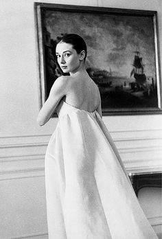 1958 Audrey Hepburn in gown by Givenchy