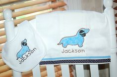 :D too stinking cute! Monogrammed Minky Dot Weiner Dog Baby Bib and by pinkllamashop, $20.00