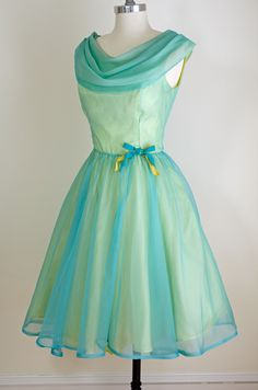 1950s 60s Neon Teal Vintage Party Dress, Sheer Vibrant Teal over Lemon Yellow, Shawl Collar