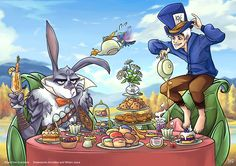 Jack Frost and Bunnymund as The Mad Hatter and the March Hare in Alice in Wonderland