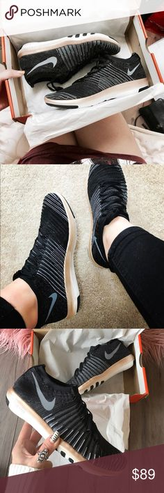 NWT Nike free black metallic bronze Brand new with box, price is firm! The Nike Free Transform Flyknit Women's Training Shoe delivers the flexible support your workout demands with a woven, sock-like upper and an innovative outsole that expands, flexes an
