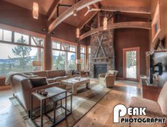 Den of modern rustic ski home in Big Sky, MT. Visit www.tatomdesign for more projects.