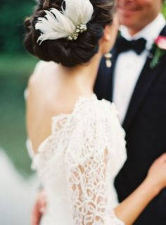 Wedding dress inspiration - White lace wedding dress with sleeves. So beautiful.