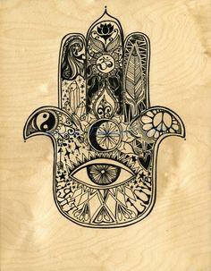 Original Art on Hand Made Wood Panel, Hamsa Design by Lauren Tannehill Art by laurentannehillART on Etsy