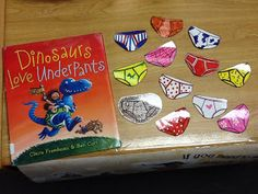 A few weeks ago for Pre-K and PPCD storytime, we read Dinosaurs Love Underpants by Claire Freedman & Ben Cort. Dinosaurs Preschool, Dinosaur Activities, Pre K Activities, Dinosaur Crafts, Library Activities, Preschool Books, Alphabet Activities, Preschool Activities, Dinosaur Party