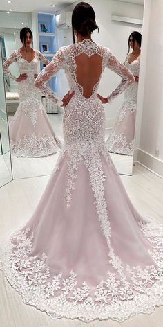 36 Chic Long Sleeve Wedding Dresses ❤ long sleeve wedding dresses trumpet lace high neckline open back isabella narchi ❤ See more: www. White Bridal Dresses, Long Wedding Dresses, Cheap Wedding Dress, Bridal Gowns, Wedding Gowns, Lace Wedding, Wedding Bride, Elegant Wedding, Wedding Rings