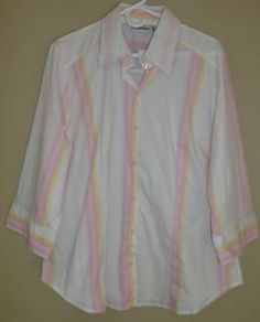 $15.95 New Womens Milenium Spring Pink & Yellow Stripe Button Front Shirt Size: 18