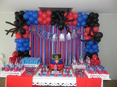 Da Oficina de Ideias BSB Superman Birthday Party, Avengers Birthday, 10th Birthday Parties, Frozen Birthday Party, Spiderman Balloon, Craft Party, Birthday Party Decorations, Ideas, Spider Man Cakes