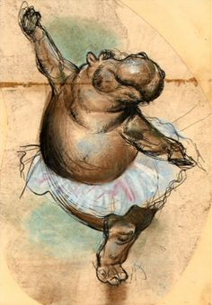 """FANTASIA"" The Dance of the Hours Concept art- my hippo(Africa)/dance love collide -this has been an idea of mine for a while- maybe in watercolor?"
