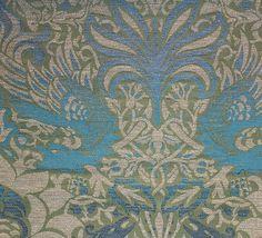 Peacock & Dragon Fabric A beautiful wool jacquard in prussian blue and moss green.