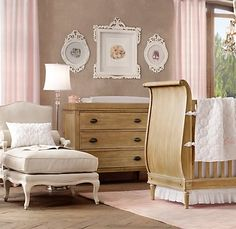 Very calming and warm feeling baby girls room. I like the subtle pink with the cream colors and light wood furniture.