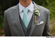 grey + aqua combo. This would be a really nice color for the groom with a mint green tie! Like this better than the lighter gray.