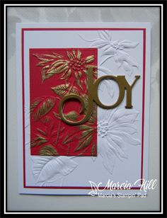 Poinsettia Cards, Embossing Folder, Tim Holtz, Matte Gold, Cas, I Card, Card Stock, Christmas Cards, Painting