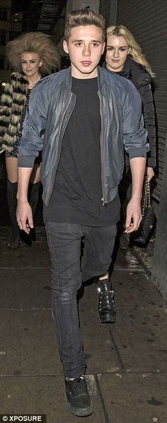 At large: Brooklyn's appearance with Tallia came following a night out at the, Mayfair nig...