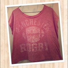 Super Sexy Off Shoulder Manchester Rugby Crop Top! SALE UNTIL 1/17 Soooo soft and super comfortable! Perfect to lounge around in:) perfect condition and washed and worn maybe twice! Fits big Tops Crop Tops