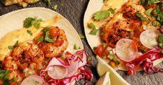 Pourquoi ne pas cuisiner des tacos aux crevettes cajuns grillées sur le BBQ pour votre repas de ce soir ? Bbq Grill, Grilling, Yummy Food, Delicious Meals, Mexican, Snacks, Ethnic Recipes, Quiches, Mayonnaise