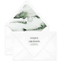 Fern Invitation Envelope / Emerald Watercolor Envelope Liner / Letterpress / Dark Green / Nynne Rosenvinge / Modern / Custom / #myownblissandbone