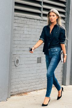 Shop this look on Lookastic:  http://lookastic.com/women/looks/navy-denim-shirt-blue-ripped-skinny-jeans-black-suede-pumps/3679  — Navy Denim Shirt  — Blue Ripped Skinny Jeans  — Black Suede Pumps