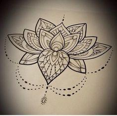 Image result for flor de loto tattoo black and white
