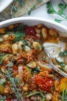 Bean Recipes, Veggie Recipes, Vegetarian Recipes, Dinner Recipes, Cooking Recipes, Vegetarian Stew, Healthy Recipes, Ww Recipes, Gastronomia