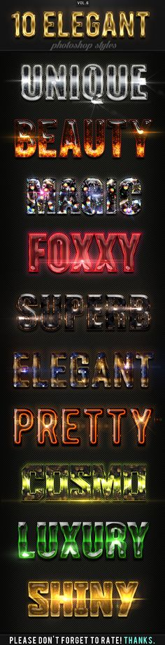 10 Elegant Photoshop Styles Vol.6 - Text Effects Actions