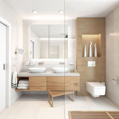 26 Awesome Wood Decor Ideas For Your Bathroom Design. This bright and fresh bathroom is one of many bathroom design ideas that help you to incorporate rustic bathroom decor Bathroom Layout, Modern Bathroom Design, Bathroom Interior Design, Small Bathroom, Bathroom Storage, Bathroom Ideas, Bathroom Designs, Bathroom Organization, Bathroom Pictures