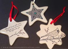 South Shore Stamping: Stamped Porcelain Christmas Ornaments