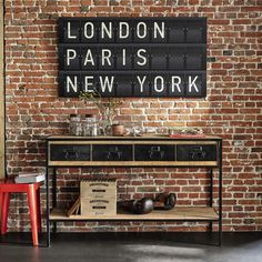 Discover Maisons du Monde's Solid Mango Wood and Black Metal Industrial Console Table. Browse a varied range of stylish affordable furniture to add a unique touch to your home. Industrial Console Tables, Industrial Living, Industrial Interiors, Industrial Furniture, Vintage Industrial Decor, Industrial Style, Industrial Door, Industrial Office, Industrial Artwork