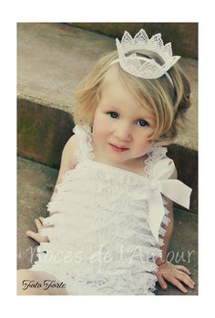 Toddler lace crown, Flower girl crown, photography prop. Comes on a headband -- claradeparis.com ♥