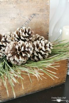 You will want to pin this for later.  Step by step tutorial for bleaching and adding sand to pine cones for fall and holiday decorating. Country Design Style | http://countrydesignstyle.com