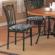 Exceptional 2 New Black Finish Metal Dining Chairs With A Black U0026 White Zebra Faux Fur  Padded