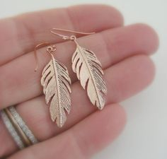 Rose Gold Earrings Feathers Handmade by FreshJewelryDesign