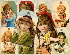Sweet Victorian Children Tags/CardsPrintable by BubblewaterDesigns