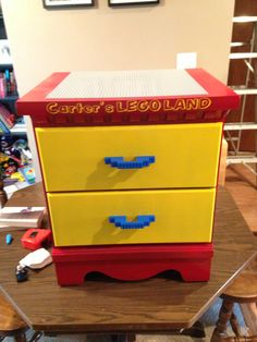 Lego table I made for Carter from an old dresser