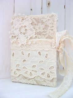 Vintage Lace Mini Journal Diary NoteBook Hardback Small Petite Pocket Journal Vintage Antique Lace  by ShabbySoul on etsy