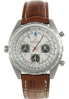 Breitling Triple Chronograph White Dial Leather Band- Men's Watch ,cheap  Breitling watch discount