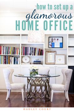 Learn 7 designer tips and home office decor ideas to create an elegant, chic home office you'll be excited to work in. From home office setup and layout, to feminine office color ideas, and bringing the outside in with some lovely house plants for your office, you'll be ready to makeover your home office by the end of the article. Hadley Court Interior Design Blog.