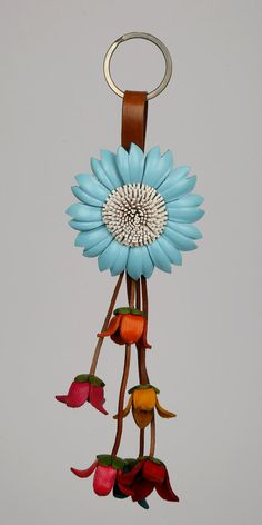 Leather Flower Keychain/Purse Charm by LeatherAX on Etsy