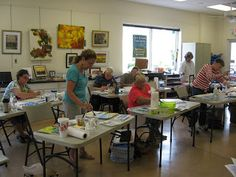 students in Annie Strack's #watercolor #painting workshop in Delaware