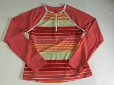 781bf0bce5 Lands End Kids Size Large 14 Girls Pullover Swim Shirt 1/4 Zip Orange Stripe