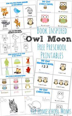 Owl Moon {Free Book-Inspired Preschool Printables} from Wildflower Ramblings (plus Owl Moon Elementary Pack at http://wildflowerramblings.com/homeschooling/owl-moon-book-inspired-elementary-printables/)
