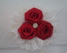 Faixa Para Bebê Flores Vermelhas e Renda
